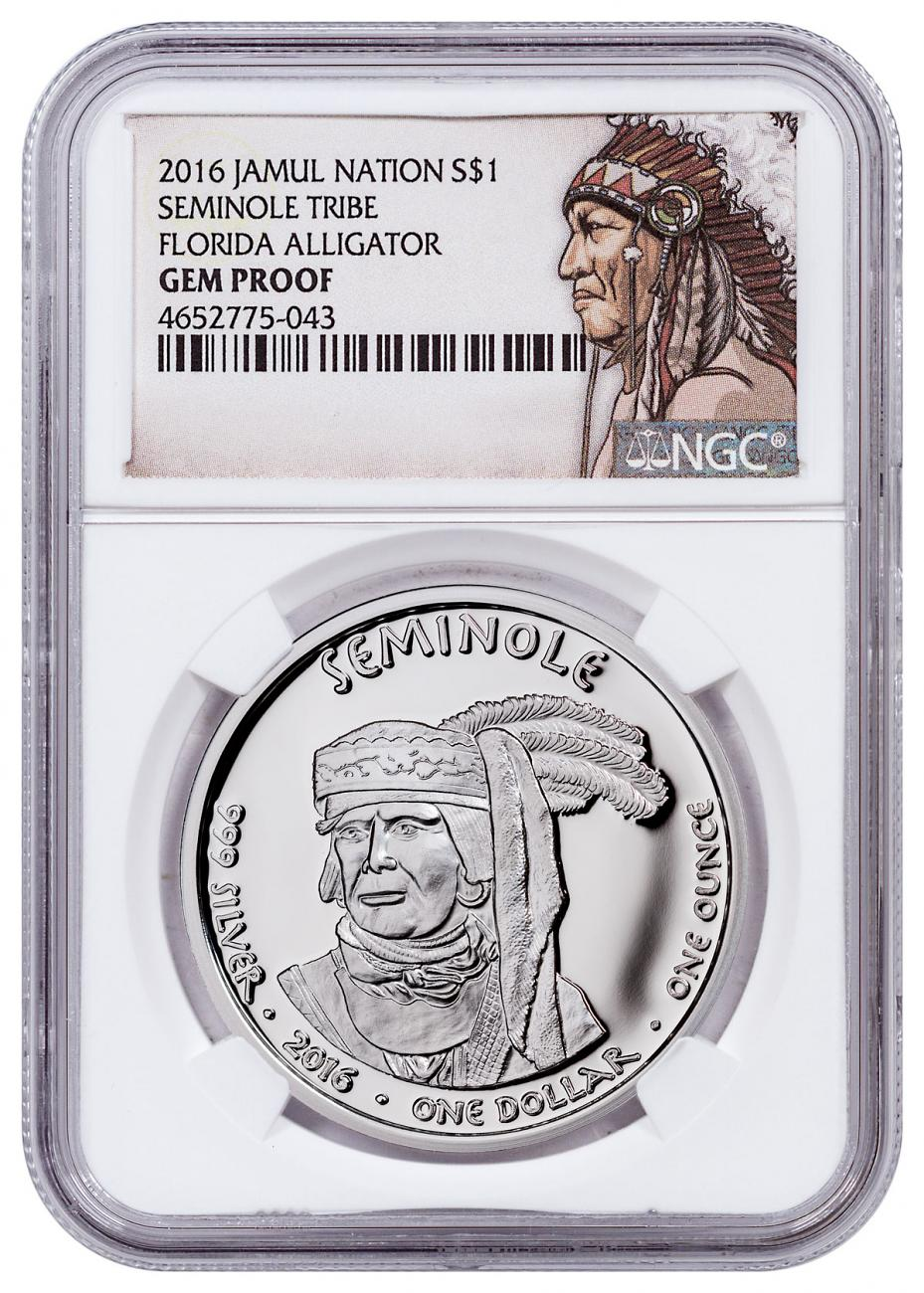 2016 Native American Silver Dollar - Florida Seminole - Alligator 1 oz Silver Proof Coin NGC GEM Proof Native American Label