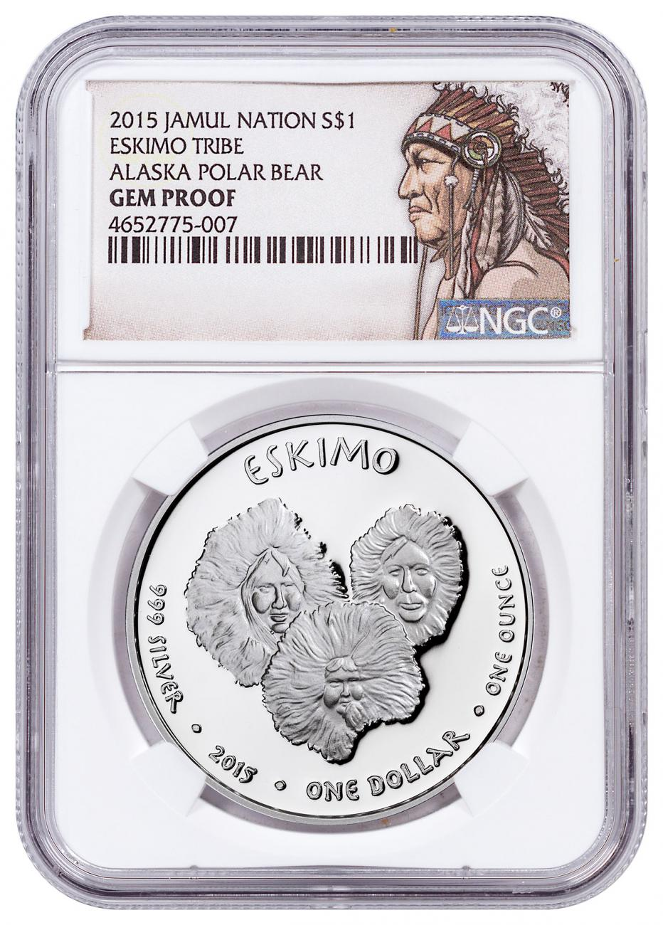 2015 Native American Silver Dollar - Alaskan Eskimo - Polar Bear 1 oz Silver Proof Coin NGC GEM Proof Native American Label