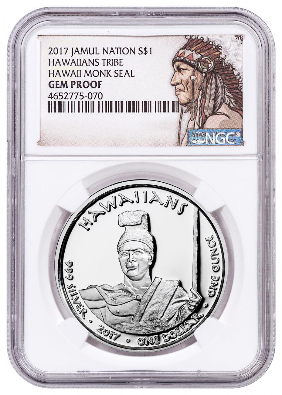 2017 Native American Silver Dollar - Hawaiian Indians - Monk Seal 1 oz Silver Proof Coin NGC GEM Proof Native American Label