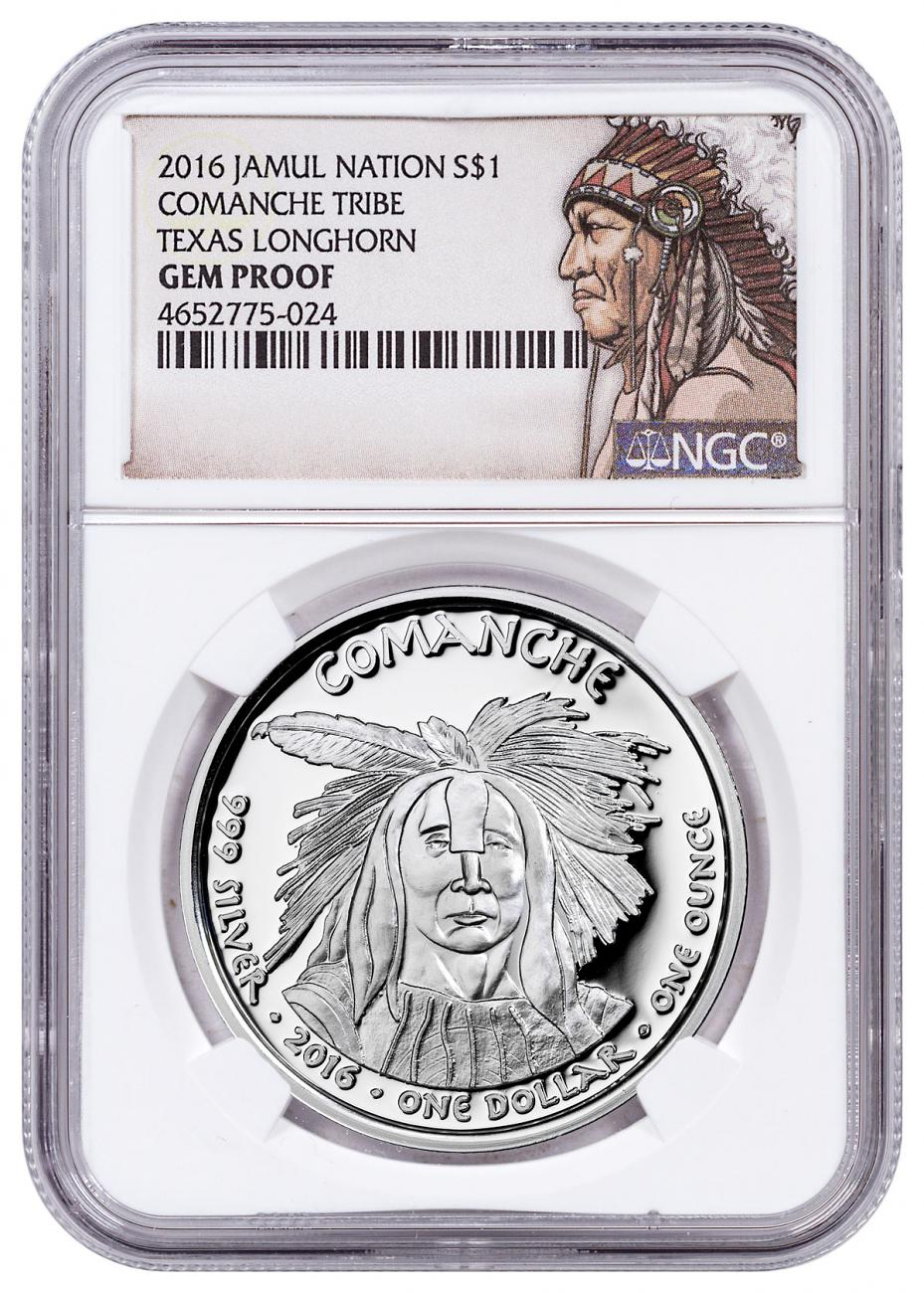 2016 Native American Silver Dollar - Texas Comanche - Longhorn 1 oz Silver Proof Coin NGC GEM Proof Native American Label