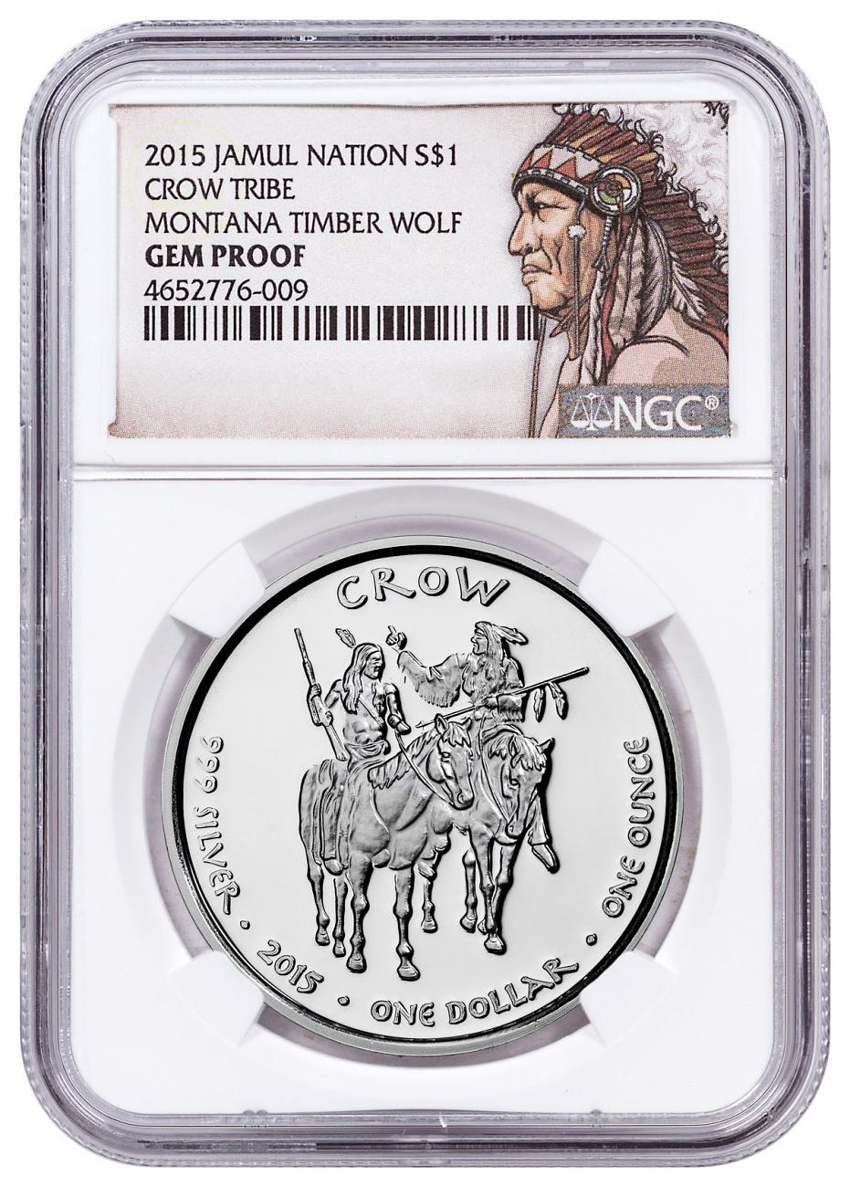2015 Native American Silver Dollar - Montana Crow - Timber Wolf 1 oz Silver Proof Coin NGC GEM Proof Native American Label