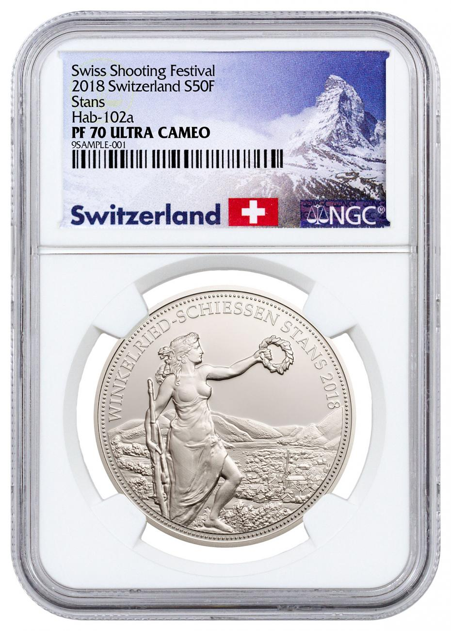 2018 Switzerland Shooting Festival Thaler - Winkelried Silver Proof Fr.50 Coin NGC PF70 UC Exclusive Switzerland Label