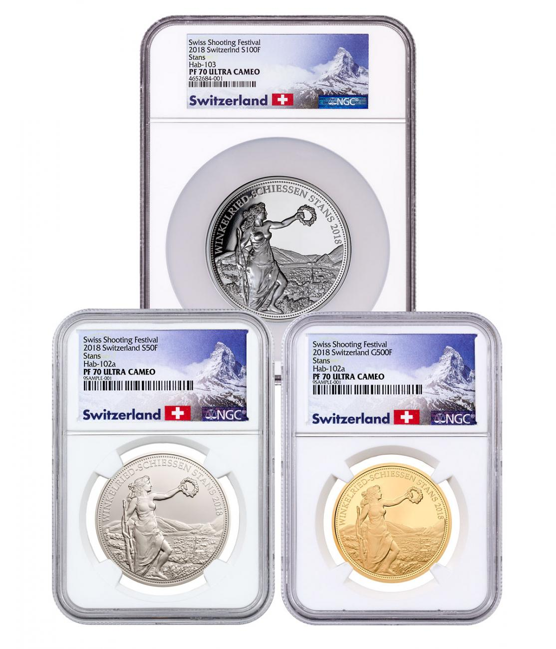 2018 Switzerland Shooting Festival Thaler - Winkelreid 3-Coin Set Gold Proof Coin NGC PF70 UC Exclusive Switzerland Label
