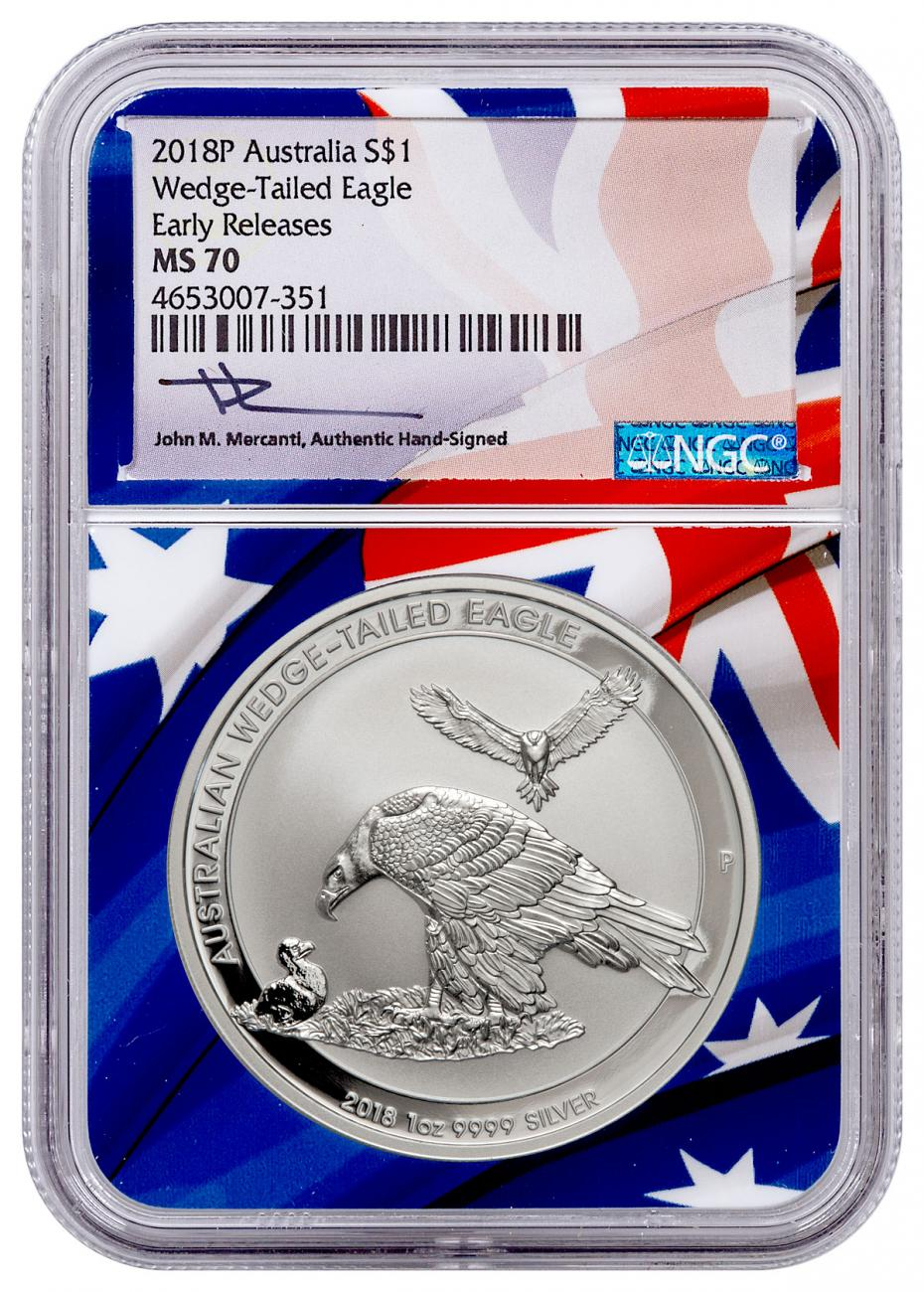 2018 Australia 1 oz Silver Wedge-Tailed Eagle $1 Coin NGC MS70 ER Flag Core Mercanti Signed Label