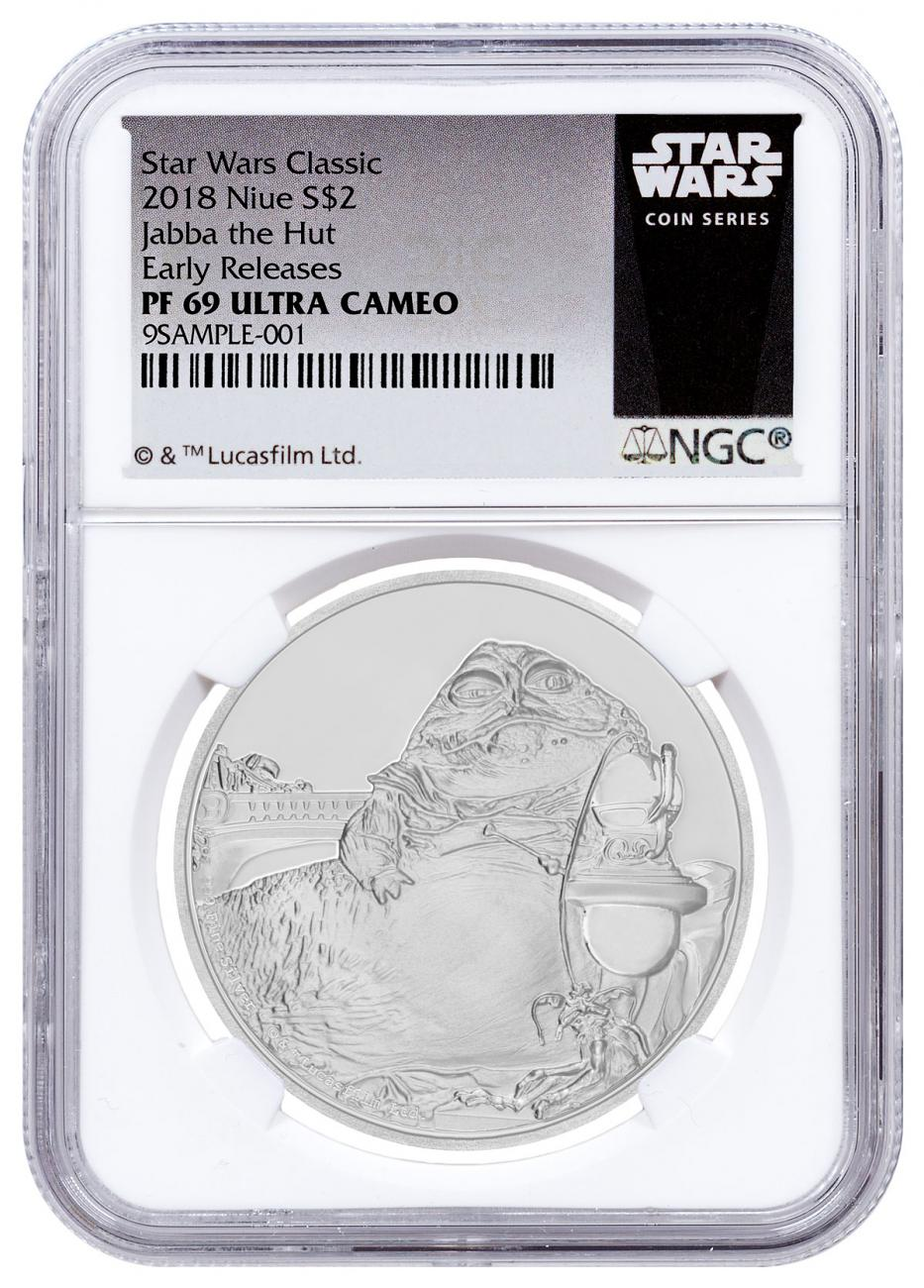 2018 Niue Star Wars Classic - Jabba the Hutt 1 oz Silver Proof $2 Coin NGC PF69 UC ER Exclusive Star Wars Label
