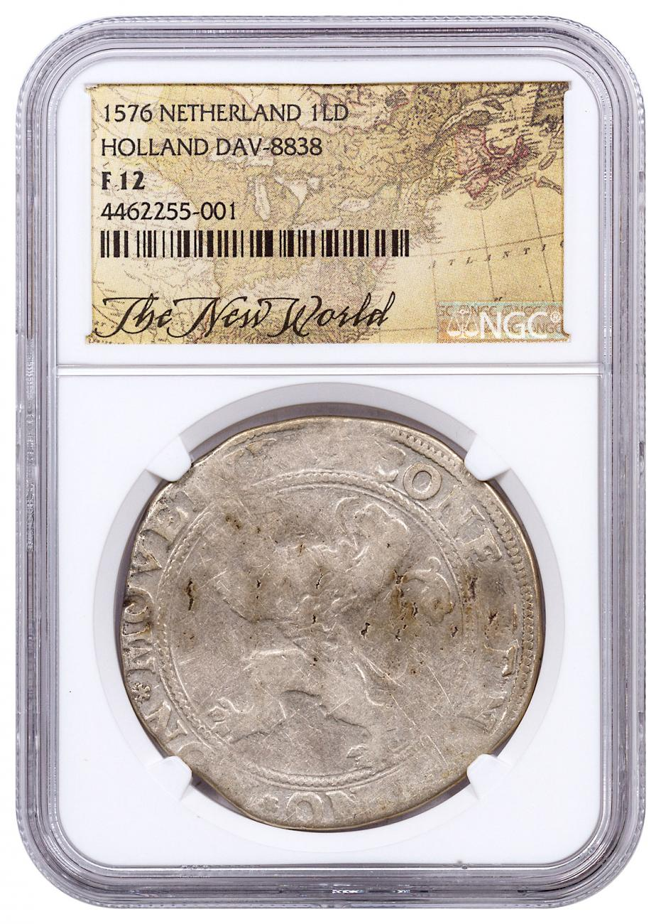 1576 Netherlands Silver 1 New York Lion Dollar NGC F12 Exclusive New World Label