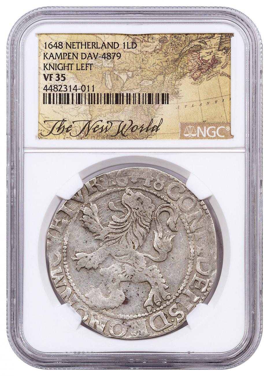1648 Netherlands Silver 1 New York Lion Dollar NGC VF35 Exclusive New World Label