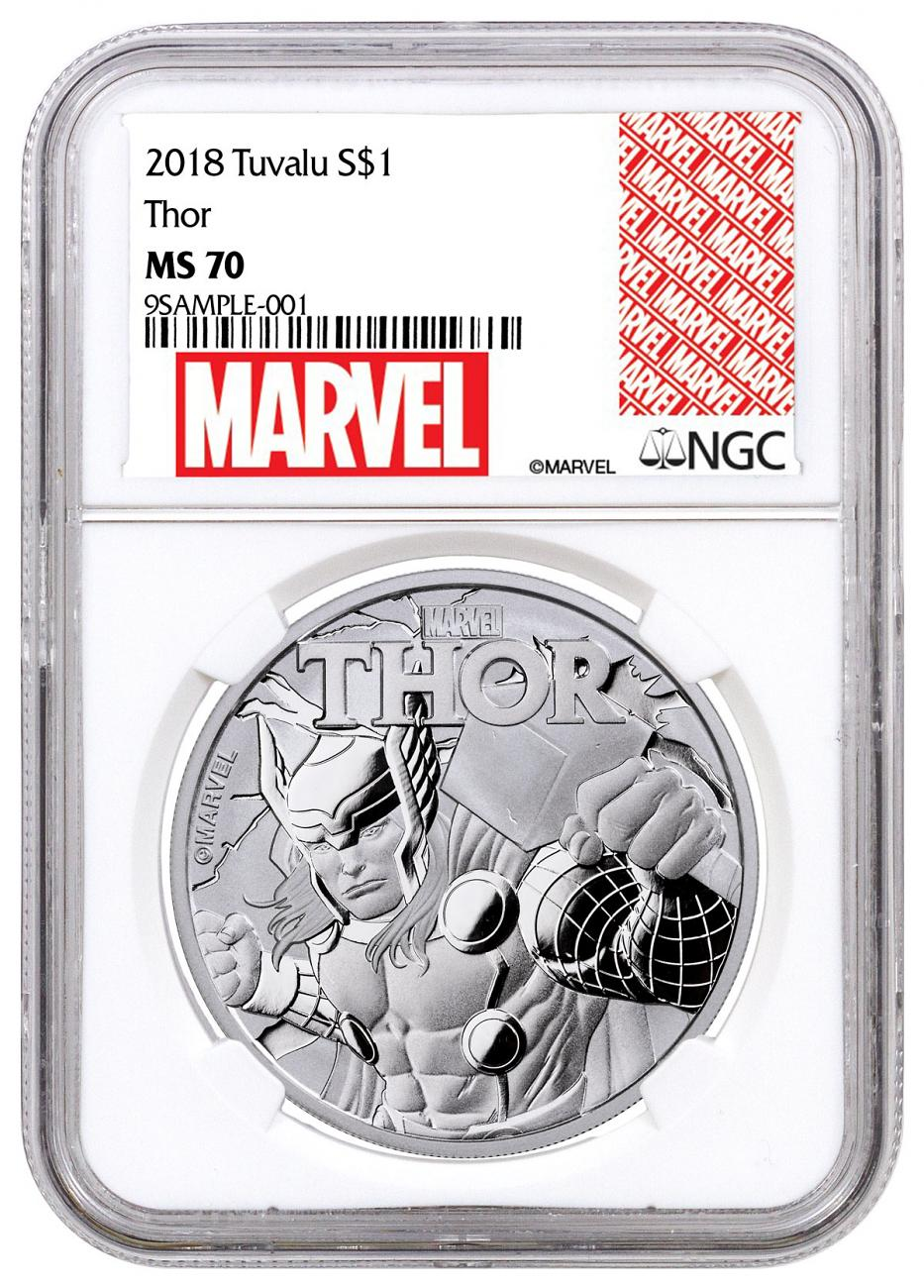 2018 Tuvalu Thor 1 oz Silver Marvel Series $1 Coin NGC MS70 Exclusive Marvel Label