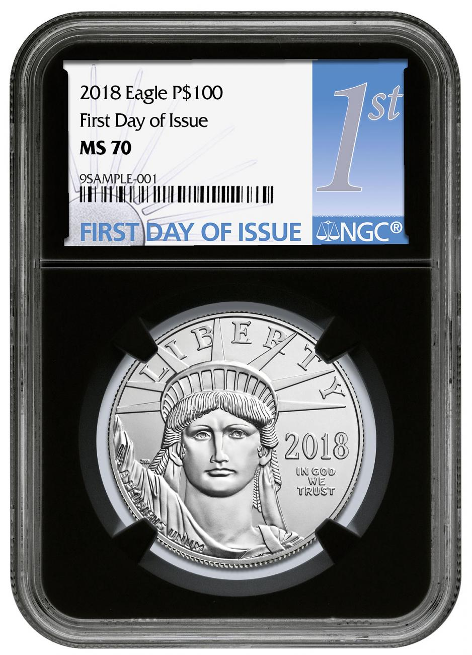 2018 1 oz Platinum American Eagle $100 NGC MS70 FDI Black Core Holder