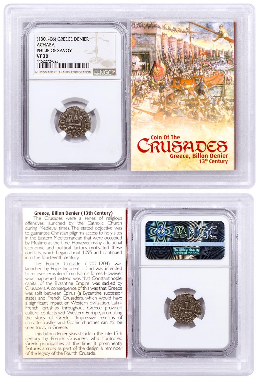 1250-1310 Greece, Billon Denier - Coin of the Crusades NGC VF30 Story Vault