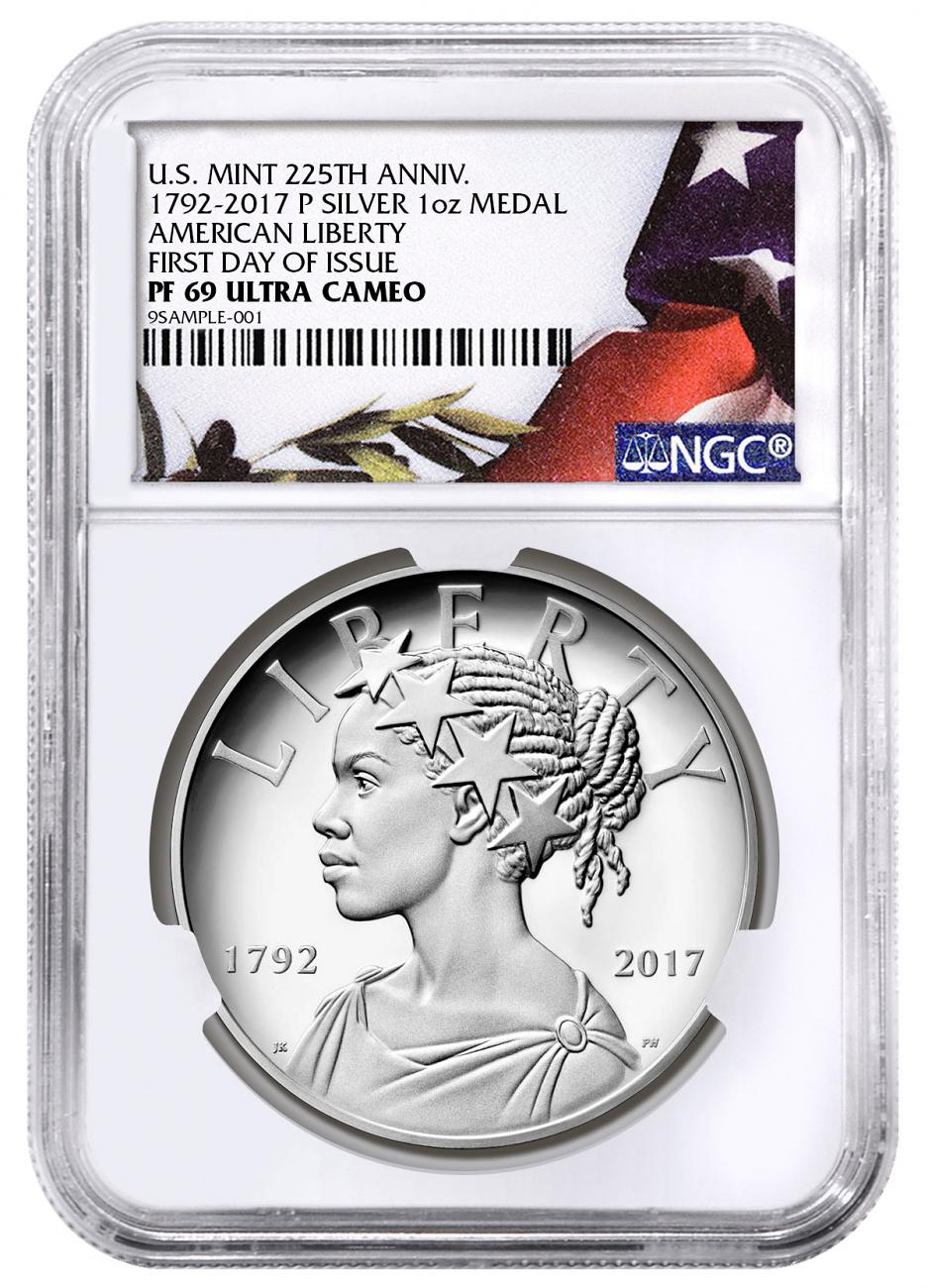 2017-P United States American Liberty 225th Anniversary 1 oz Silver Proof Medal NGC PF69 UC FDI American Flag Liberty Label