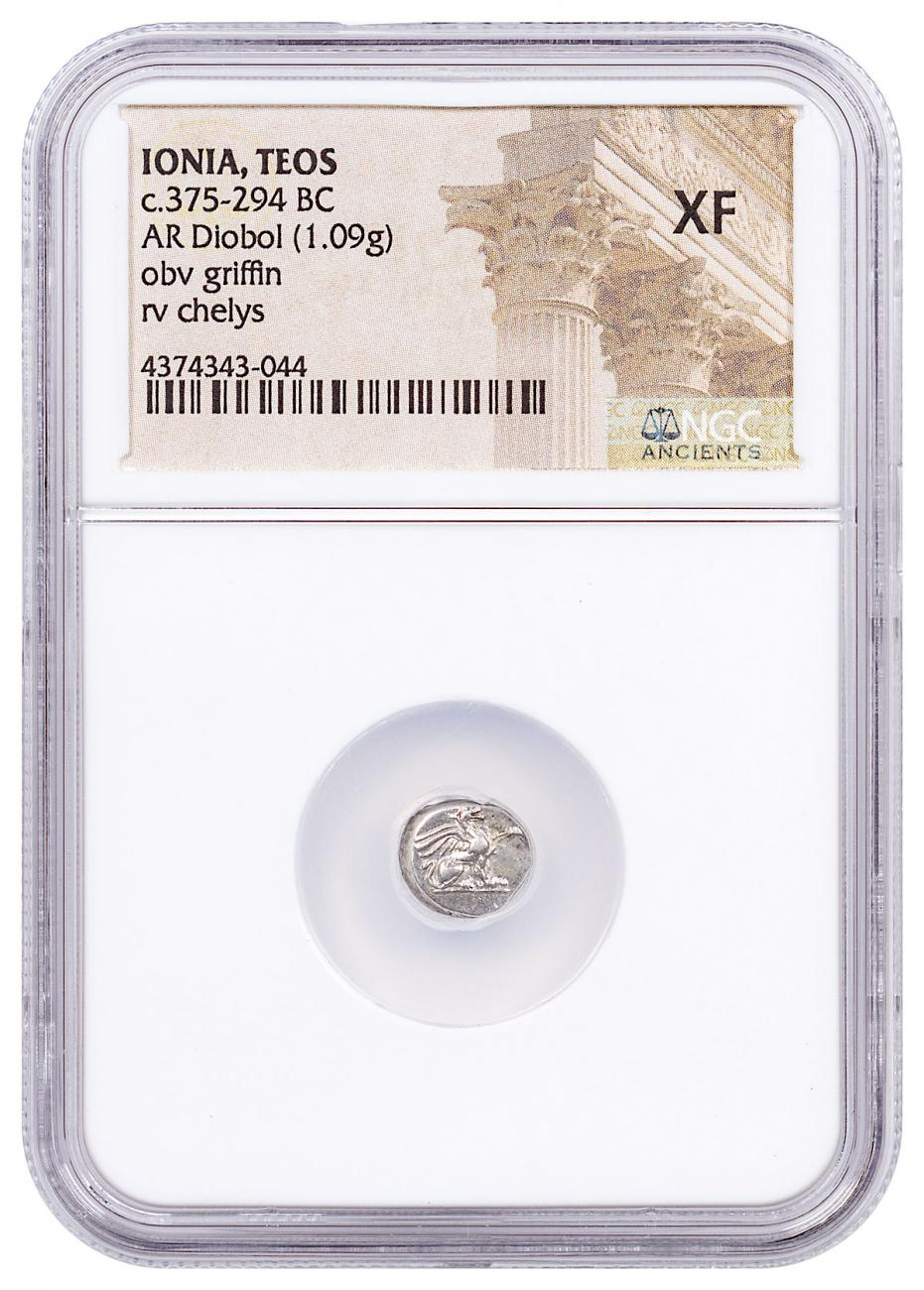 Ionia, Teos Silver Diobol (c.375-294 BC) - obv. Griffin/rv. Chelys NGC XF (Story Vault)