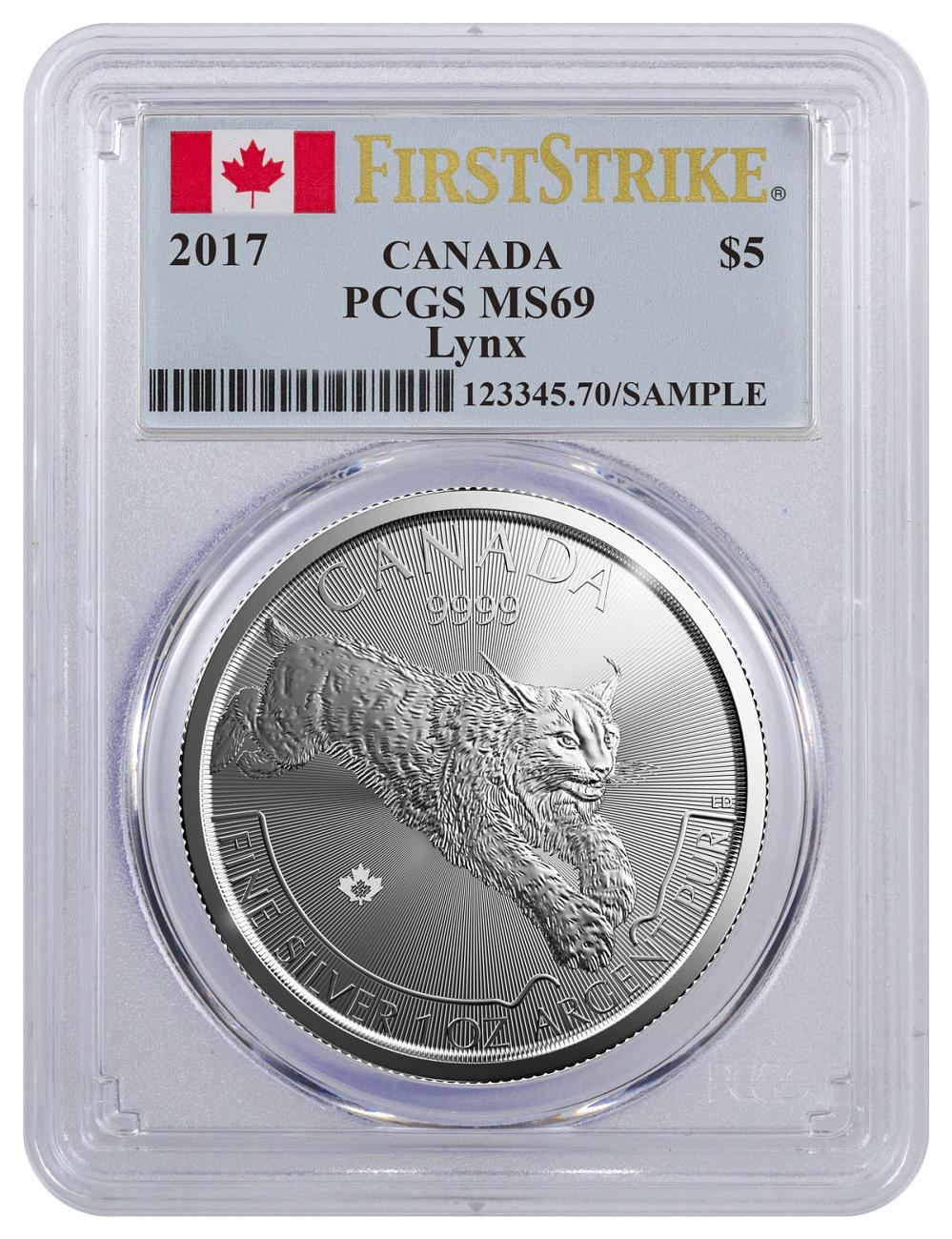 2017 Canada Predator Series - Lynx 1 oz Silver $5 Coin PCGS MS69 FS (Flag Label)