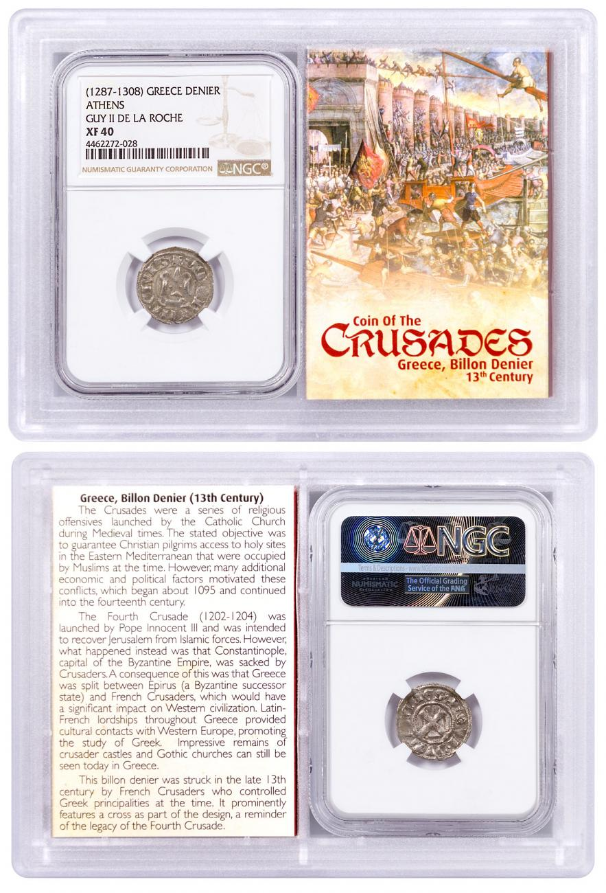 1250-1310 Greece, Billon Denier - Coin of the Crusades NGC XF40 Story Vault
