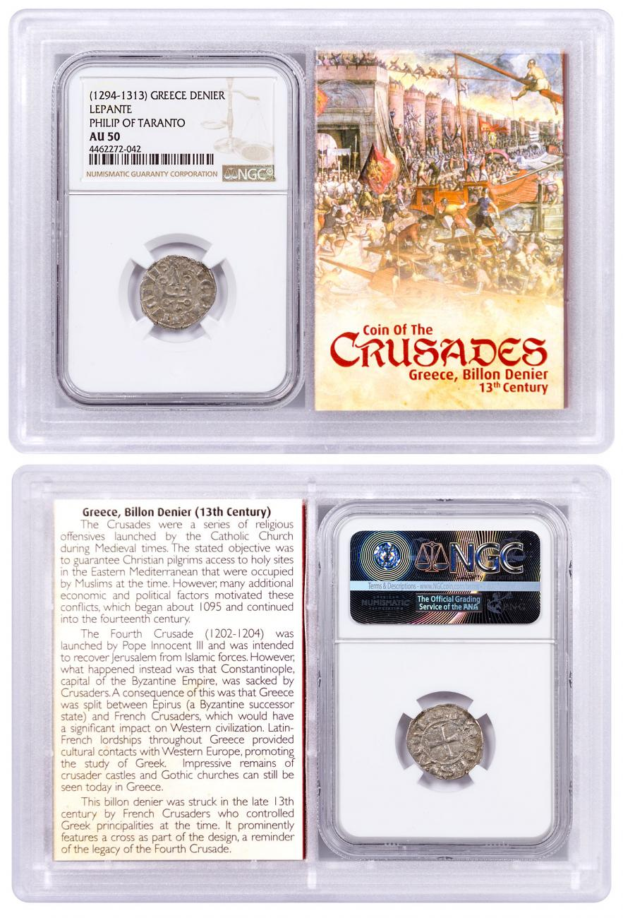 1250-1310 Greece, Billon Denier - Coin of the Crusades NGC AU50 Story Vault