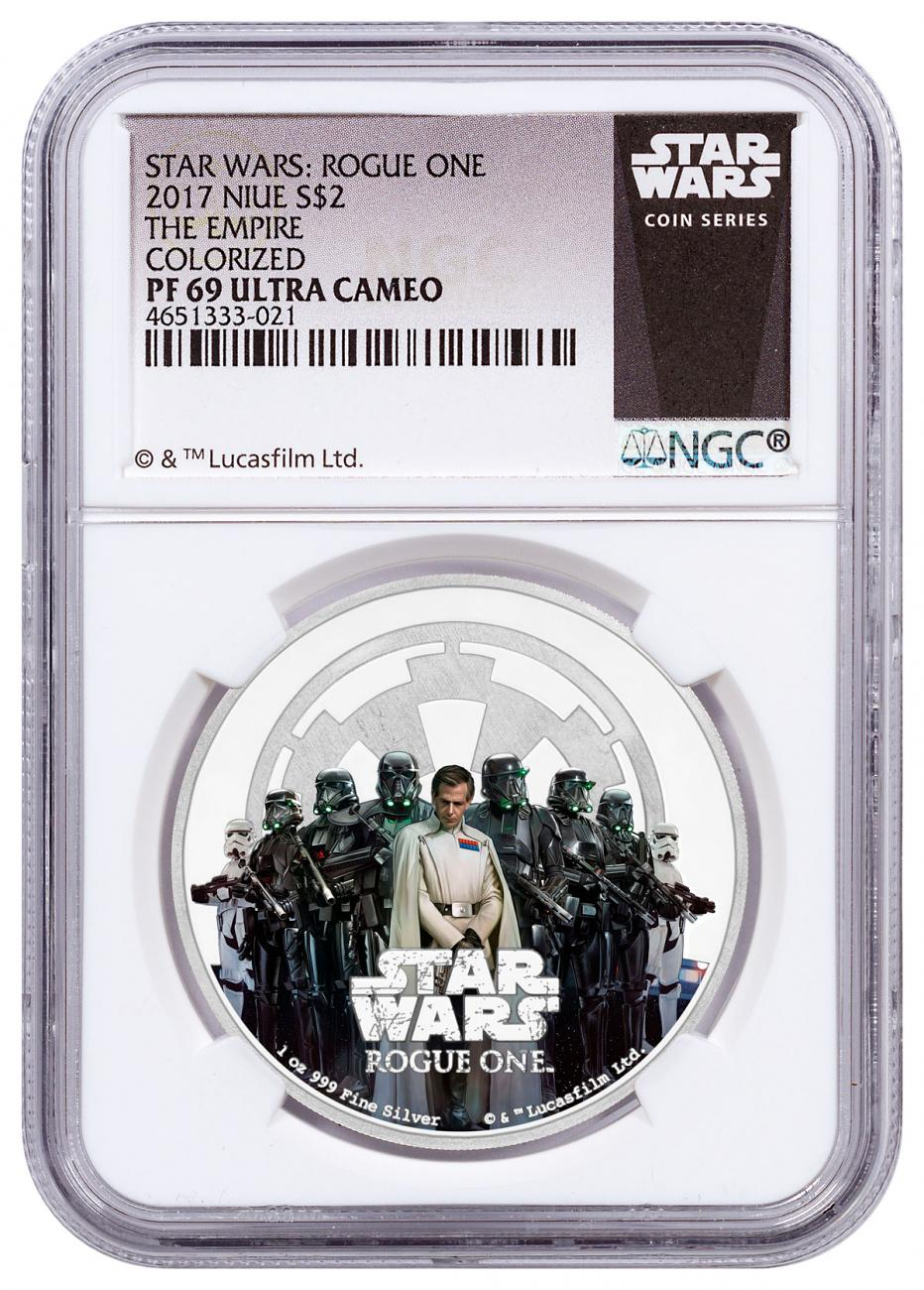 2017 Niue Star Wars: Rogue One - Empire 1 oz Silver Colorized Proof $2 NGC PF69 Exclusive Star Wars Label
