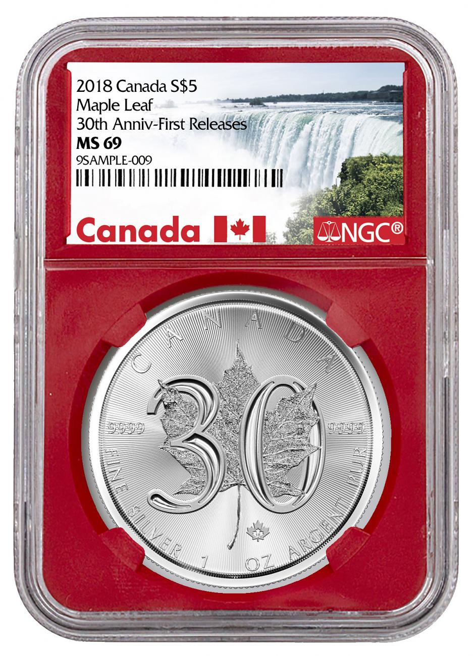 2018 Canada 1 oz Silver Maple Leaf - 30th Anniversary $5 Coin NGC MS69 FR Red Core Holder Exclusive Canada Label