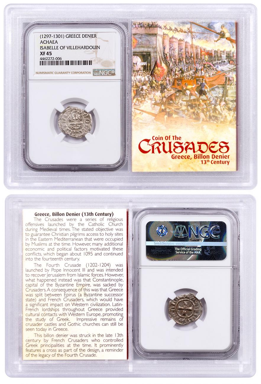 1250-1310 Greece, Billon Denier - Coin of the Crusades NGC XF45 Story Vault