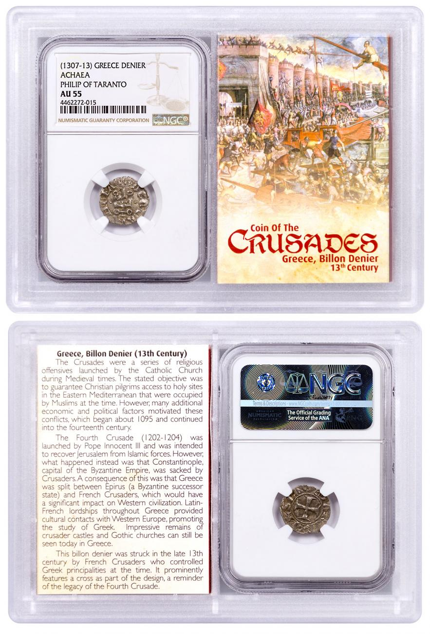 1250-1310 Greece, Billon Denier - Coin of the Crusades NGC AU55 Story Vault