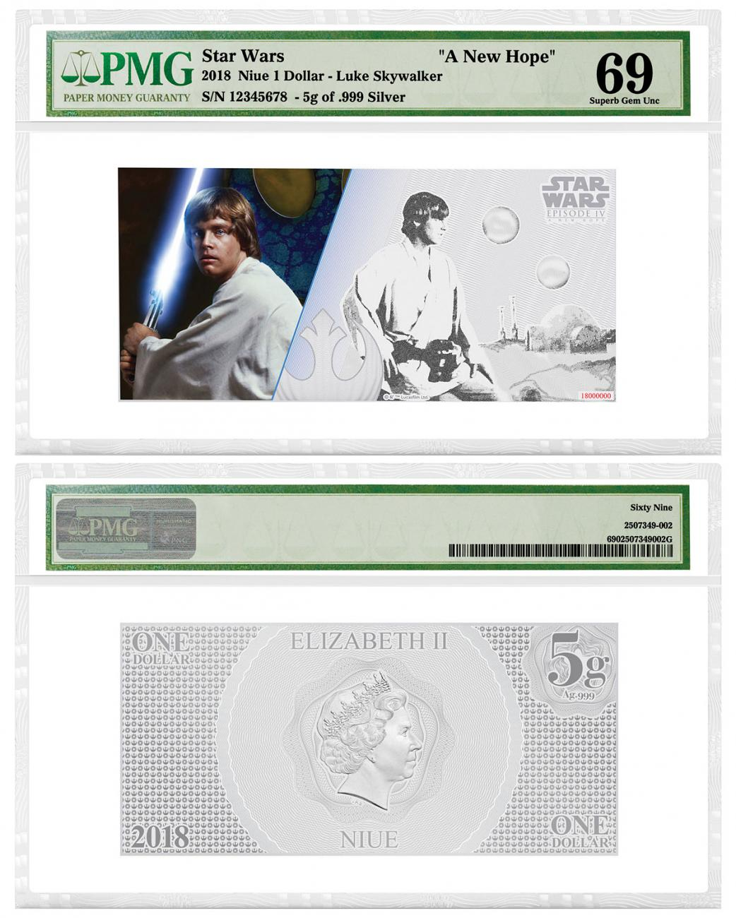 2018 Niue Star Wars: A New Hope - Luke Skywalker Foil Note 5 g Silver Colorized $1 Coin PMG GEM Unc 69