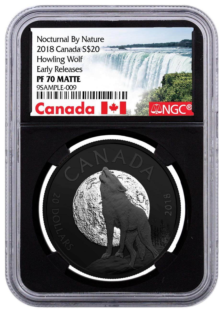 2018 Canada Nocturnal By Nature - The Howling Wolf 1 oz Black Rhodium Plated Silver Matte Proof $20 Coin NGC PF70 ER Black Core Holder Exclusive Canada Label