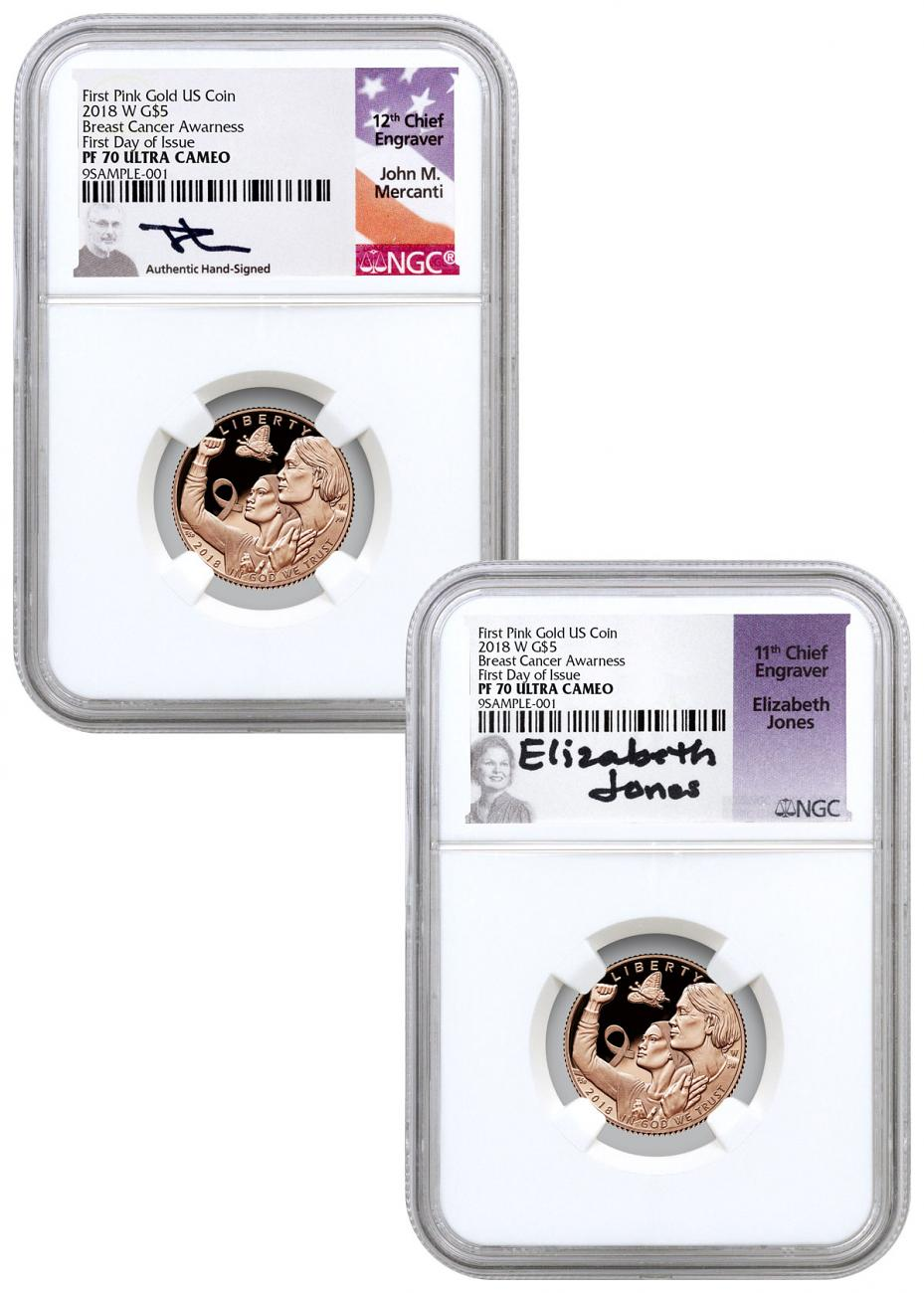 2-Coin Set - 2018-W Breast Cancer Awareness Commemorative Pink Gold $5 Proof Coins NGC PF70 FDI Mercanti + Jones Signed Labels