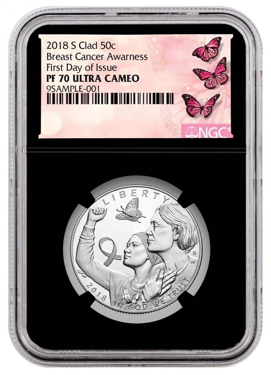 2018-S Breast Cancer Awareness Commemorative Clad Half Dollar Proof Coin NGC PF70 UC FDI Black Core Holder Breast Cancer Label