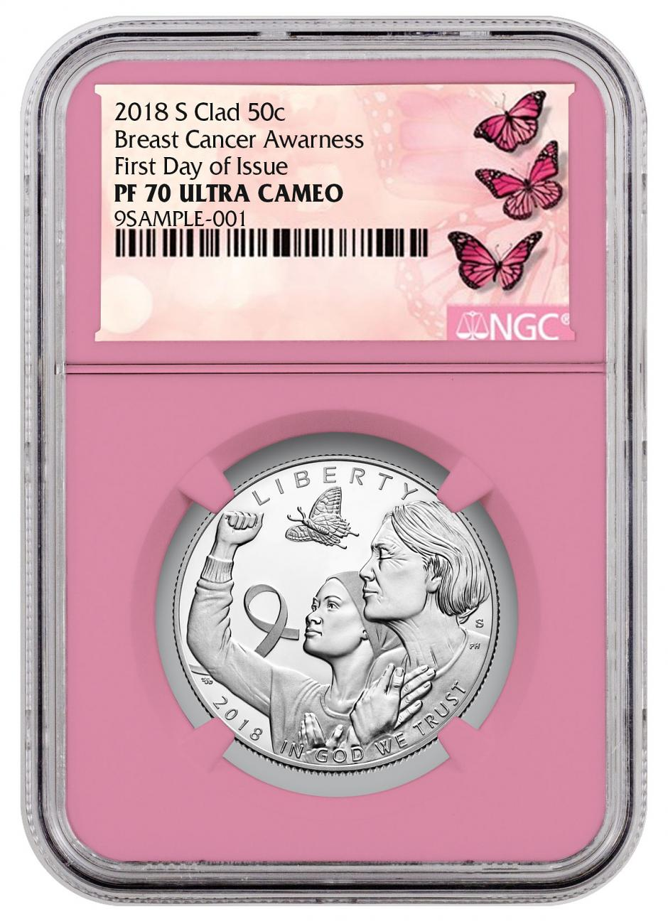 2018-S Breast Cancer Awareness Commemorative Clad Half Dollar Proof Coin NGC PF70 UC FDI Pink Core Holder Breast Cancer Label
