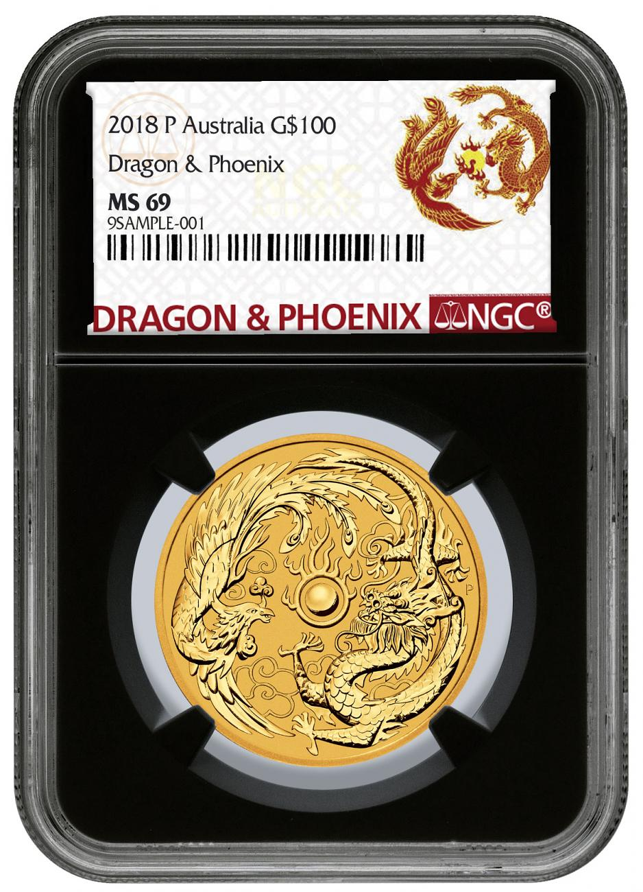 2018 Australia 1 oz Gold Dragon & Phoenix $100 Coin NGC MS69 Black Core Holder Exclusive Dragon & Phoenix Label