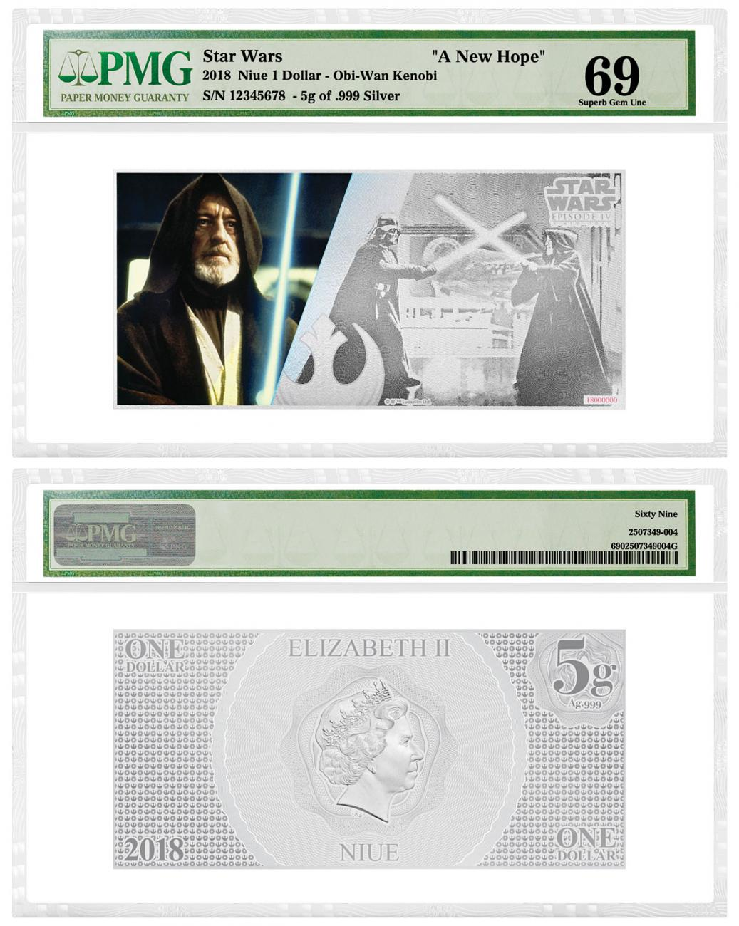 2018 Niue Star Wars: A New Hope - Obi-Wan Kenobi Foil Note 5 g Silver Colorized $1 Coin PMG GEM Unc 69