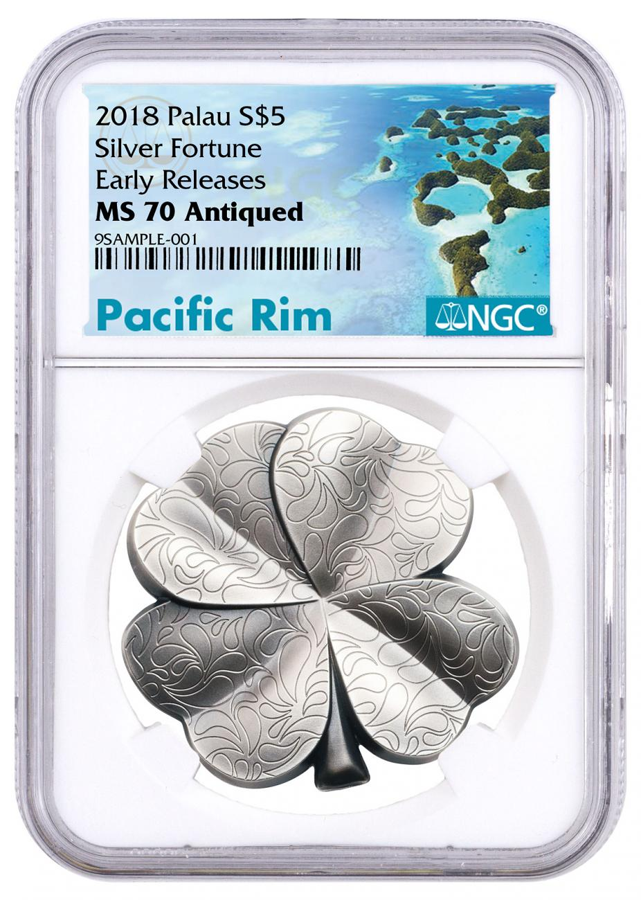 2018 Palau Fortune - Four-Leaf Clover Shaped 1 oz Silver Antiqued $5 Coin NGC MS70 ER Exclusive Pacific Rim Label