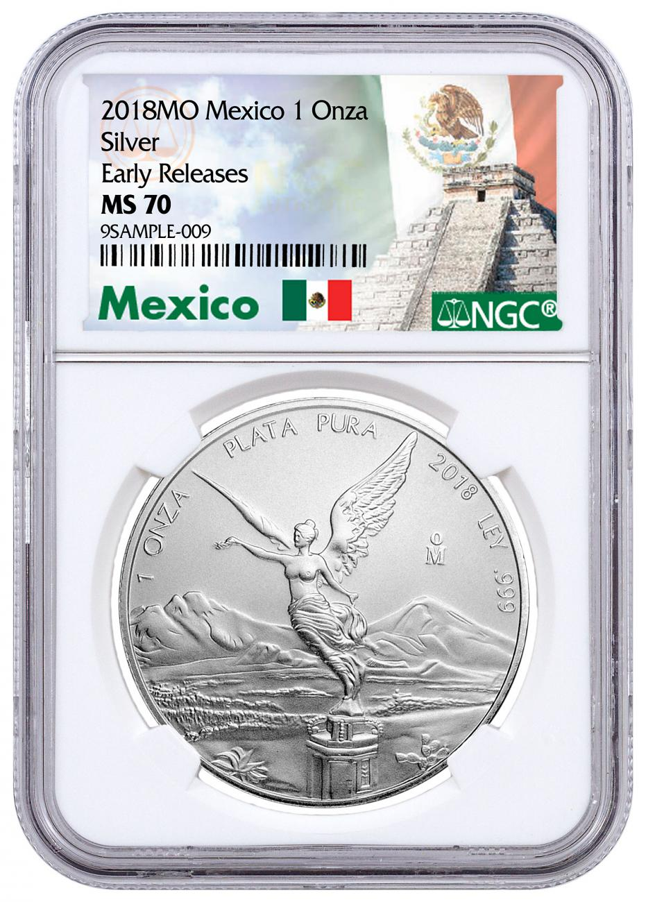 2018-Mo Mexico 1 oz Silver Libertad Coin NGC MS70 ER Exclusive Mexico Label