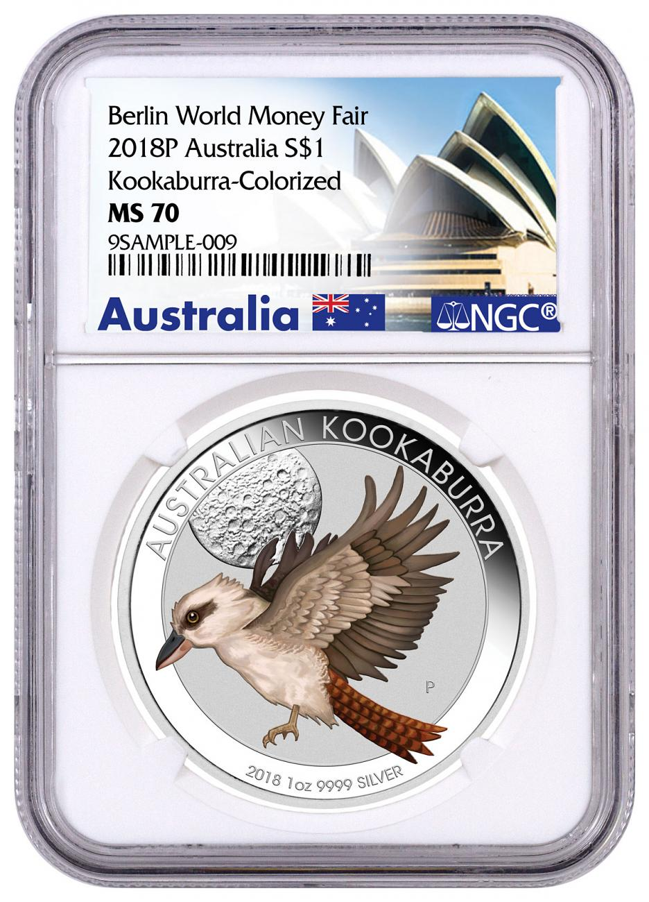 2018 Australia 1 oz Silver Kookaburra Colorized $1 Coin Berlin World Money Fair Release NGC MS70