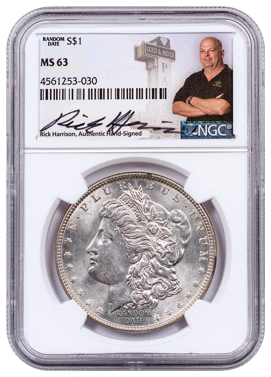 Random Date Morgan Silver Dollar NGC MS63 Exclusive Rick Harrison Signed Label