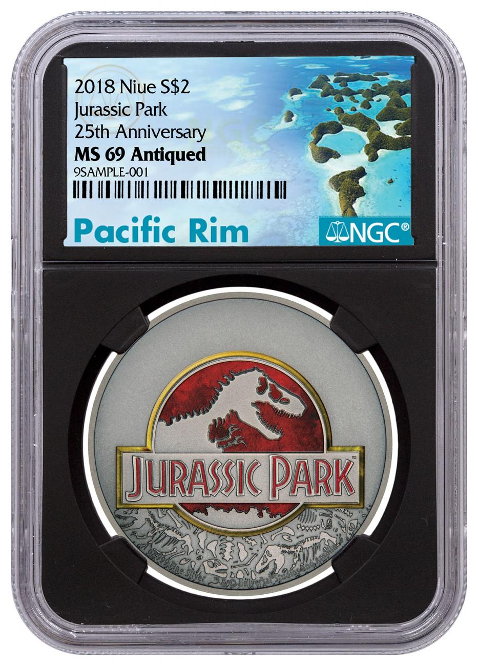 2018 Niue Jurassic Park 25th Anniversary 1 oz Silver Colorized Antiqued $2 Coin NGC MS69 Black Core Holder Exclusive Pacific Rim Label
