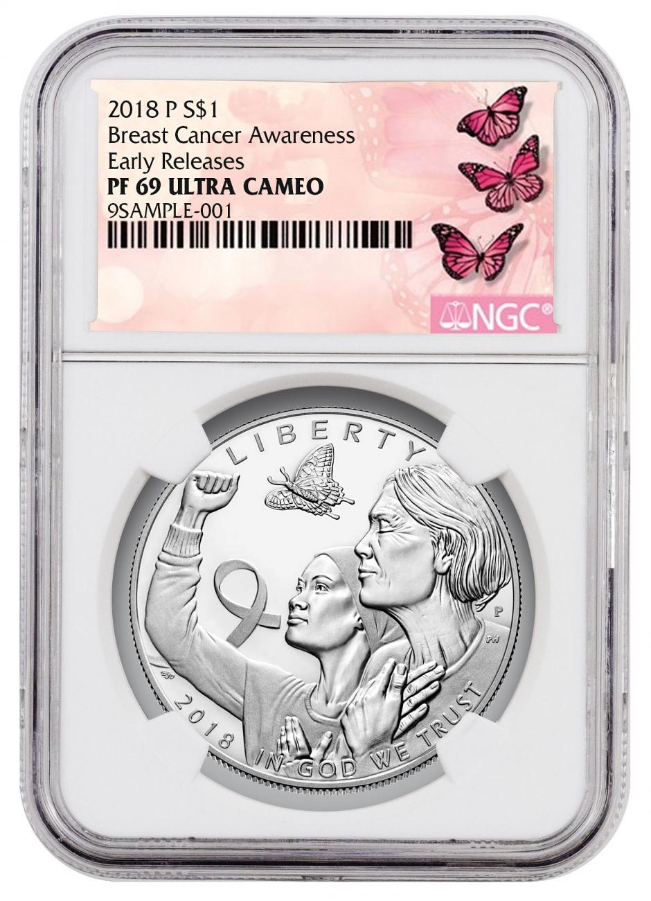 2018-P Breast Cancer Awareness Commemorative Silver Dollar Proof Coin NGC PF69 UC ER Breast Cancer Label
