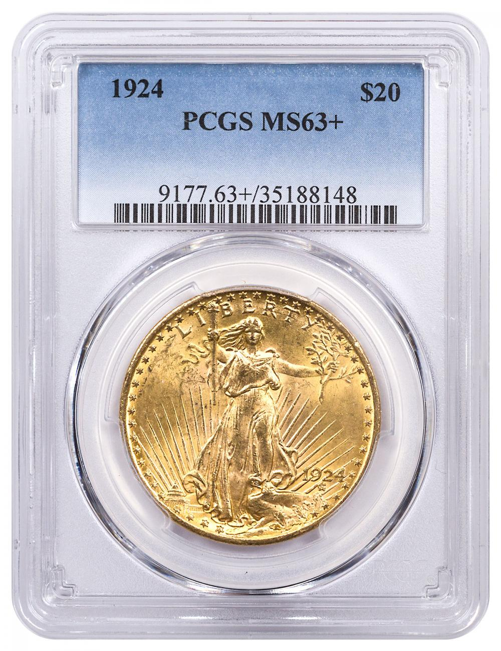 1924 Saint-Gaudens $20 Gold Double Eagle PCGS MS63+