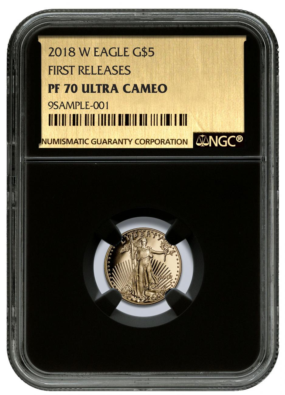 2018-W 1/10 oz Gold American Eagle Proof $5 NGC PF70 UC FR Black Core Holder Exclusive Gold Foil Label