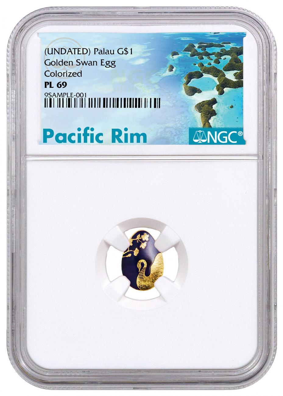 (2018) Palau Golden Swan Egg 1/2 g Gold Colorized Prooflike $1 Coin NGC PL69 Exclusive Pacific Rim Label