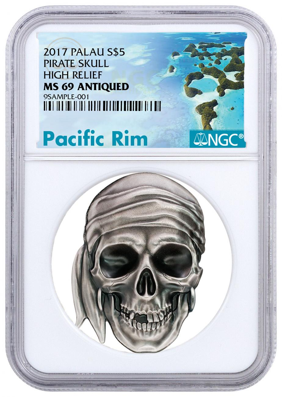 2017 Palau Pirate Skull High Relief 1 oz Silver Antiqued Proof $5 Coin NGC MS69 Exclusive Pacific Rim Label