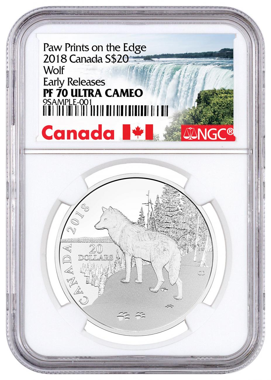 2018 Canada Nature's Impressions - Wolf 1 oz Silver Proof $20 Coin NGC PF70 UC ER Exclusive Canada Label