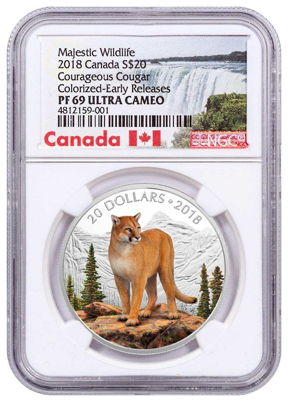 2018 Canada Majestic Wildlife - Courageous Cougar 1 oz Silver Proof $20 Coin NGC PF69 UC ER Exclusive Canada Label