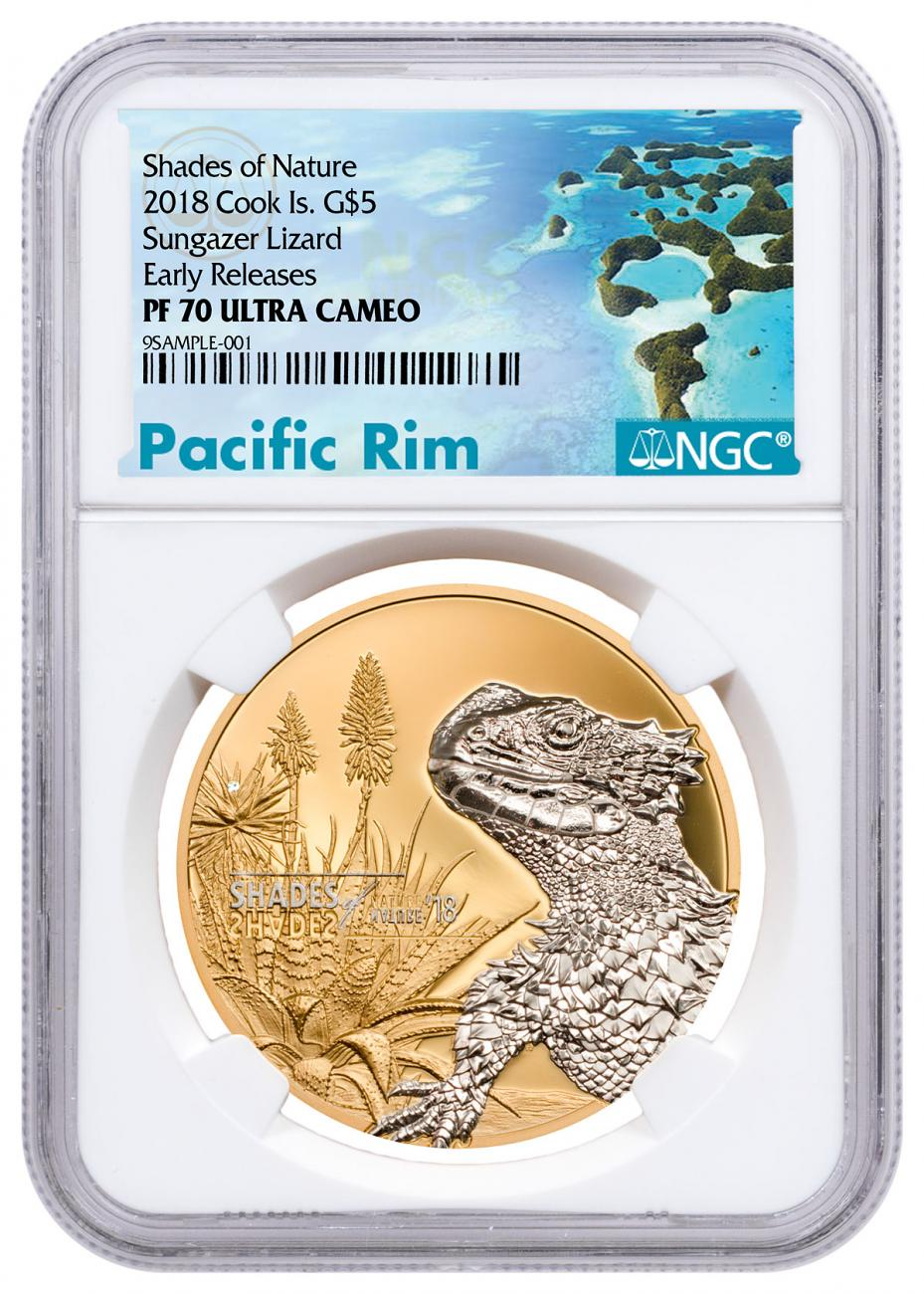 2018 Cook Islands Shades of Nature - Sungazer Lizard 1 oz Silver Gilt Proof $5 Coin NGC PF70 UC ER Exclusive Pacific Rim Label