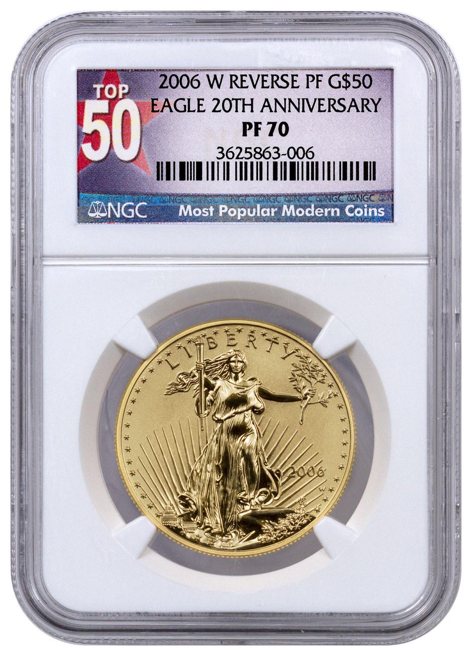 2006-W 1 oz Reverse Proof Gold Eagle $50 (20th Anniversary) NGC PF70 Top 50 Label