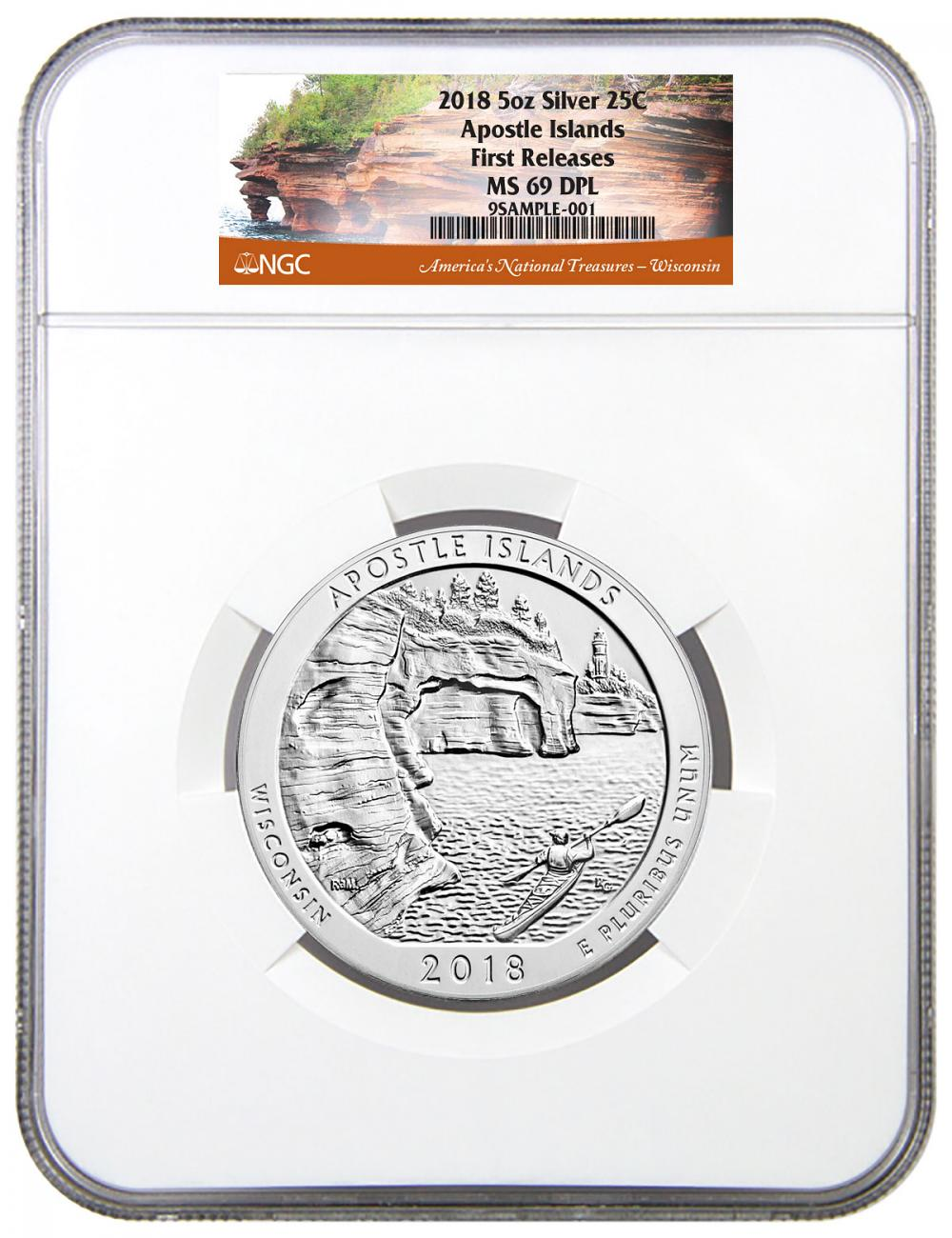 2018 Apostle Islands 5 oz. Silver America the Beautiful Coin NGC MS69 DPL FR