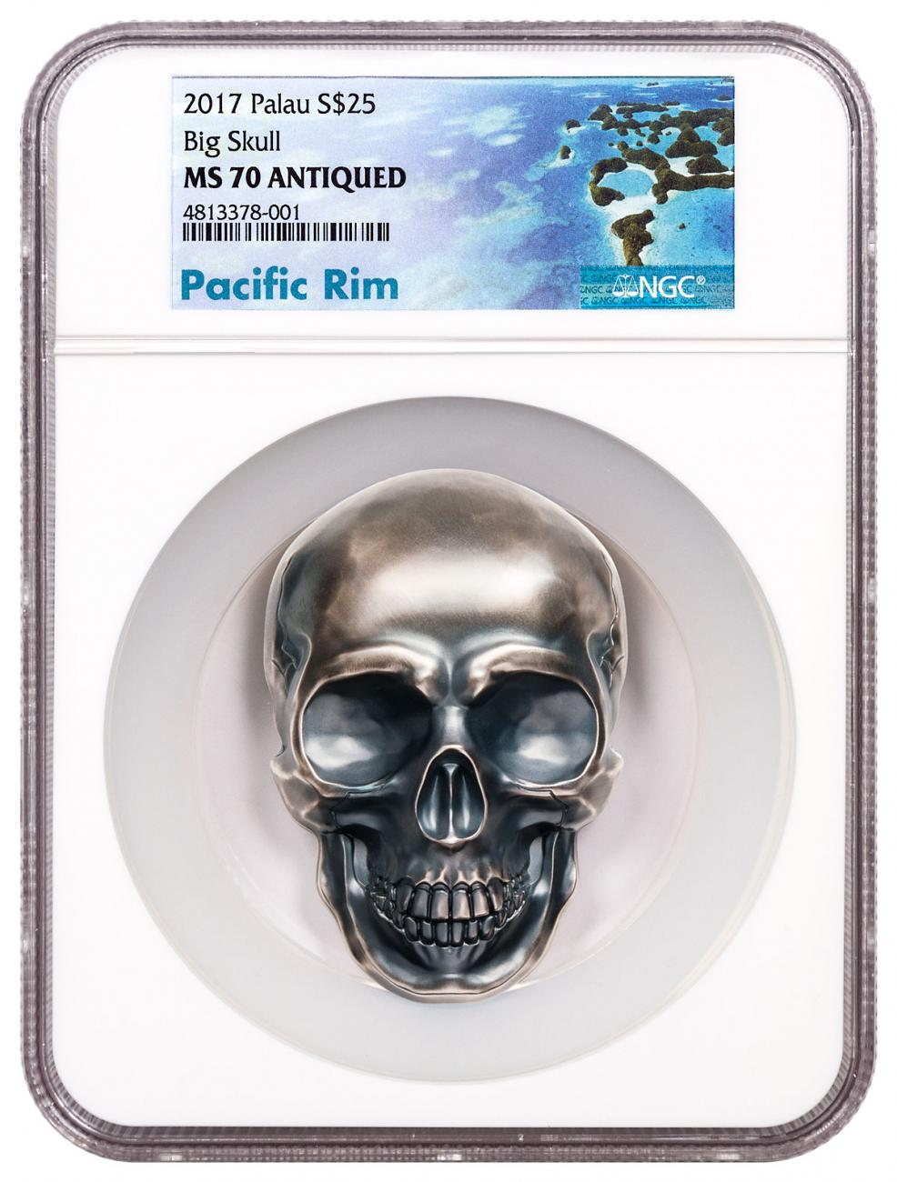 2017 Palau Skull - Big Skull High Relief Skull 1/2 Kilo Silver Antiqued $25 Coin NGC MS70 Exclusive Pacific Rim Label