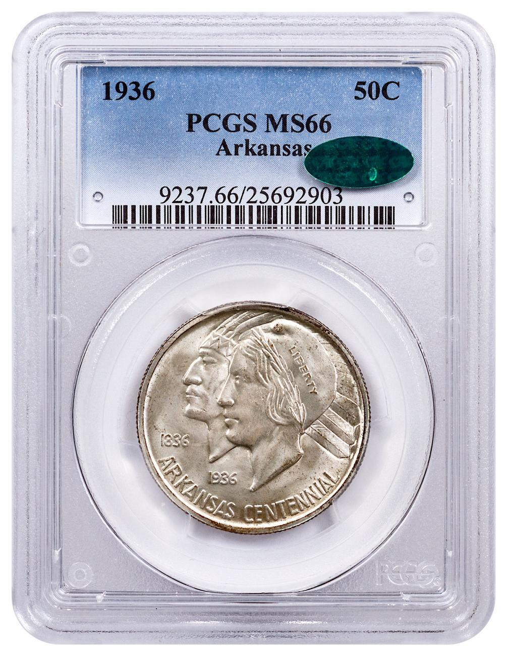 1936 Arkansas Centennial Commemorative Silver Half Dollar Coin PCGS MS66