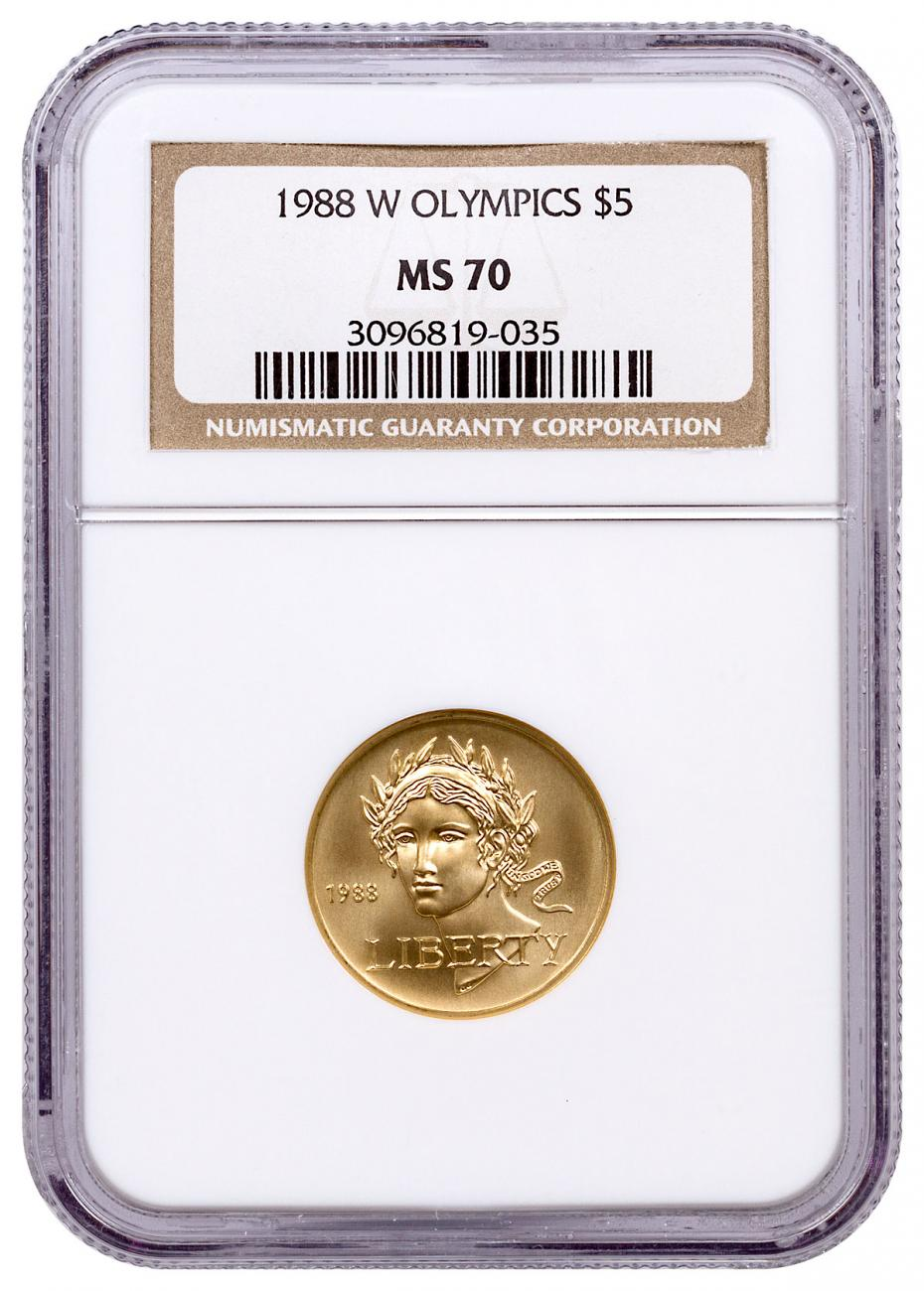 1988-W Olympics $5 Gold Commemorative Coin NGC MS70