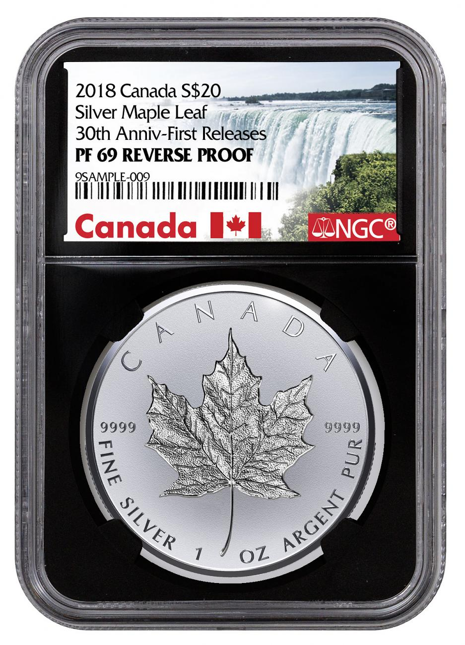 2018 Canada 1 oz Silver Maple Leaf - Incuse Reverse Proof $20 Coin NGC PF69 FR Black Core Holder Exclusive Canada Label
