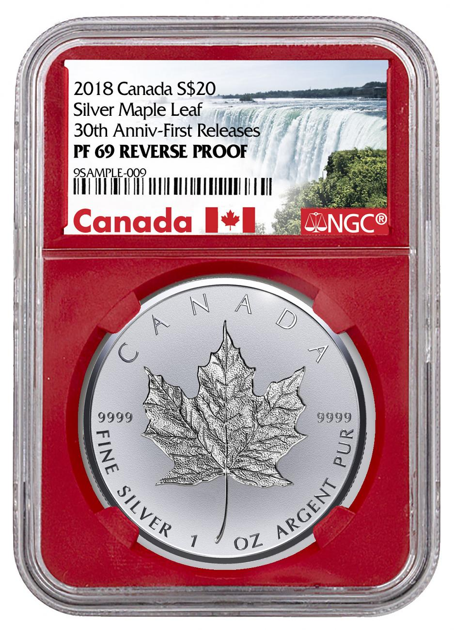 2018 Canada 1 oz Silver Maple Leaf - Incuse Reverse Proof $20 Coin NGC PF69 FR Red Core Holder Exclusive Canada Label